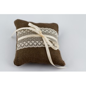 Little Lace Brown Hessian Sophie Ring Pillow