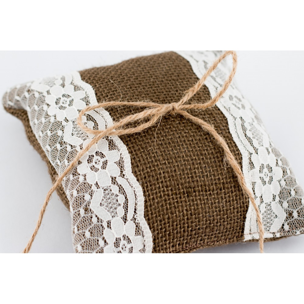 Little Lace Brown Hessian Claire Ring Pillow