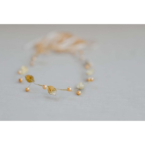 Leaves Hair Piece-Gold Pearls