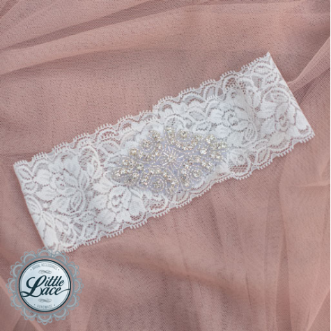 Little Lace: Stretch Lace Garter with Embellishment