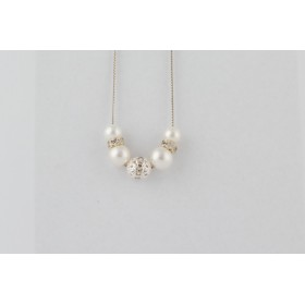 Little Lace Diamante Pearl Necklace
