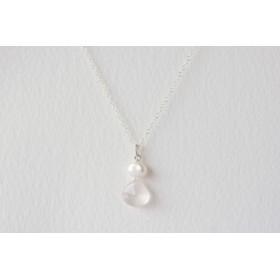 Little Lace Carla Davis Collection Rose Quartz & Pearl Pendant