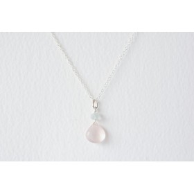 Little Lace Carla Davis Collection Rose Quartz & Aquarmarine Pendant