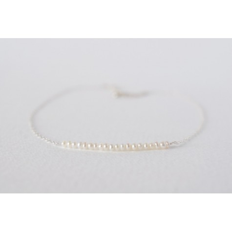 Little Lace Carla Davis Collection Pearl Bar Chain Necklace
