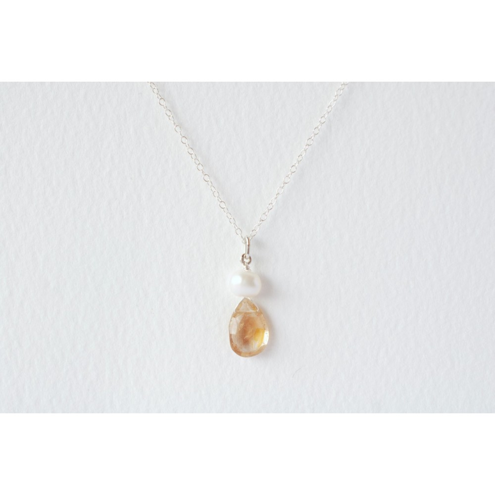 Little Lace Carla Davis Collection Imperial Topaz & Pearl Pendant