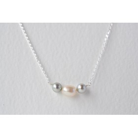 Little Lace Carla Davis Collection Grey & White Pearl Necklace
