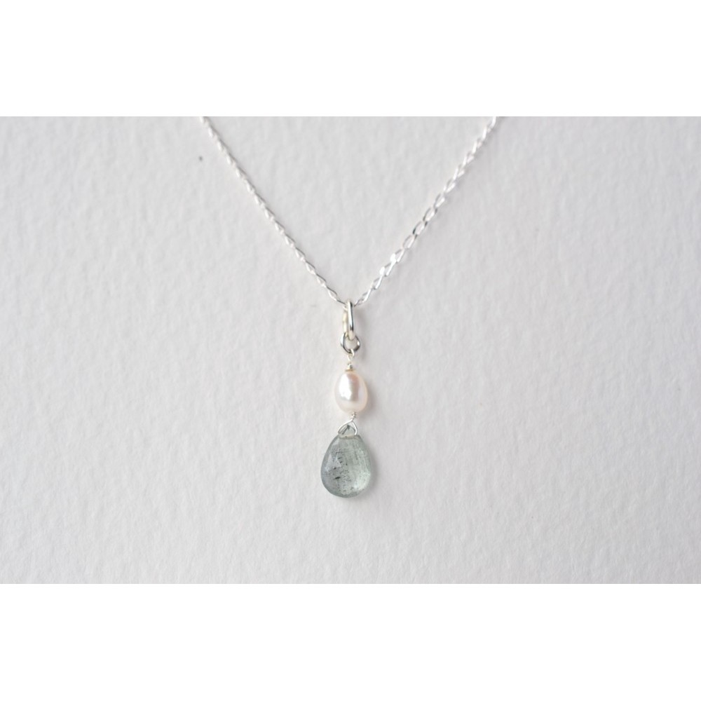 Little Lace Carla Davis Collection Aquamarine & Pearl Pendant