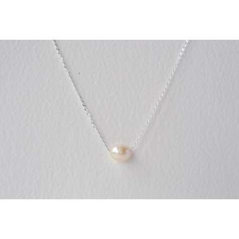 Little Lace Carla Davis Collection Single Pearl Chain Necklace