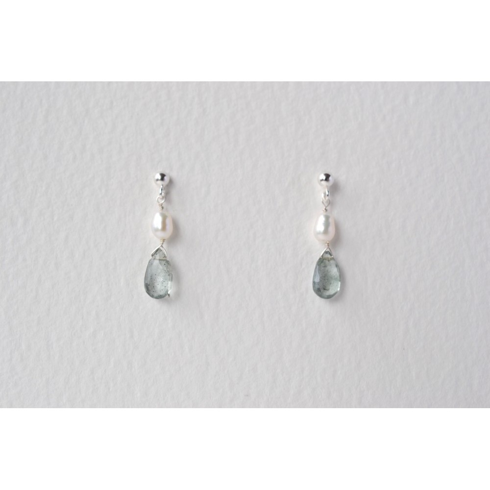 Carla Davis Collection Aquamarine & Pearl Drop Earrings