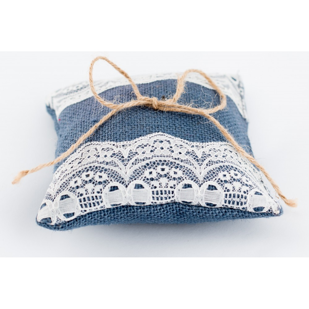 Little Lace Blue Hessian Claire Ring Pillow