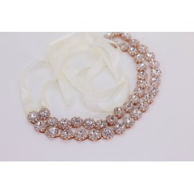 Little Lace Audrey diamante Rose gold hair piece