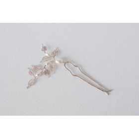 Little Lace White Pearl & Lace Leaves Hair Pin (Medium)